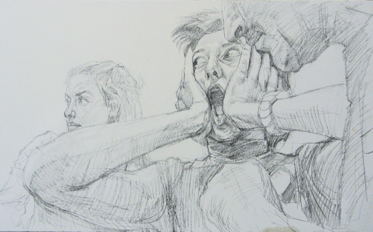 L'urlo - Matita preparatoria - Assieme
